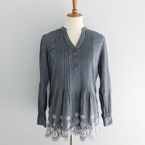 Style & Co Long Sleeve Bottom Embroidered Blouse